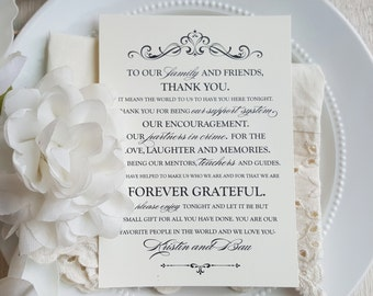 Printable Wedding Reception Thank You Card  | Wedding Thank You Card | Thank You Card | Thank You - Style TY78 - GRACEFUL COLLECTION