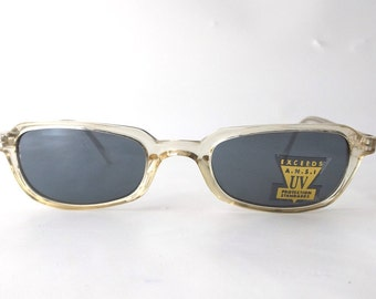 vintage 90's translucent clear sunglasses plastic frames slim skinny women men rectangular square fashion accessory accessories retro modern