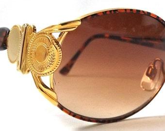 vintage 90s deadstock tortoise shell plastic gold metal coin cazal sunglasses men women fashion accessories accessory sun glasses retro new