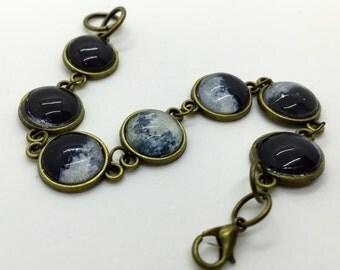Moon Phase Bracelet- Lunar Phase Cabochon Bracelet- Galaxy Jewelry