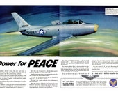 1948 U.S. Army Air Force Recruiting Service Two Page Spread Post War WWII Poster Ford Car Photo & Dextrose Corn Products Refining Company Ad