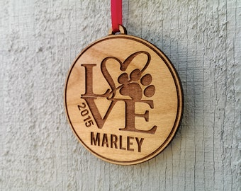 Personalized Pet Ornament Gift With Love Paw Print Pets Name and Date Ornament Dog Cat Christmas Gift Custom Engraved Wood Tree Ornament