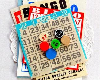 Vintage Bingo Card Pack / 12 Pieces / Junk Journal / Old Bingo Cards / Planner Supply
