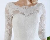 Boat neck ivory Alencon Lace bolero jacket Bridal Bolero Wedding jacket wedding bolero bridal shrug bridal jacket