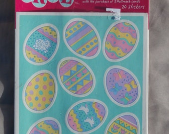 Easter Egg Stickers by Hallmark, NIP, Vintage 1996 Made in USA, 20 Stickers