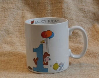 1 Enjoy Today, First Birthday Mug, Vintage for One Year Old, Japan Made Vagabond Creations