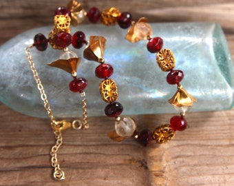 Red and Gold Necklace Black Cherry Czech Glass Old Bohemian Glass Vintage Brass Filigree Valentine's Jewelry