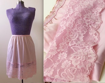 Vintage Pink Short Lace Half Slip - Small