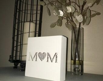 Handmade shadow box, plaque, laser cut, wall art, wood wall art, mixed media, typography, gift for mom