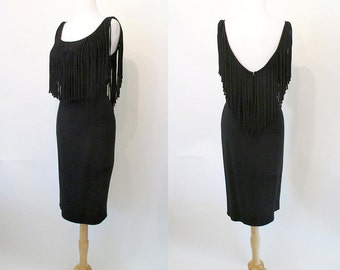 "Dramatic 1950's ""Mr. Blackwell"" Cocktail  Dress with Vintage Designer Hourglass Party Dress Hourglass Rockabilly VLV Pinup Size-Medium"