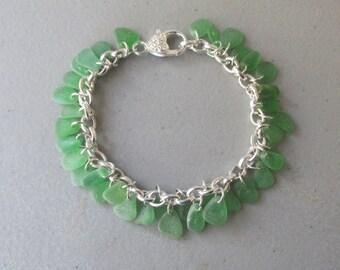 Bracelet Jewelry, Green Bracelet, Chain Bracelet, Link Bracelet, Beach Glass Jewelry, Gift for Her, Sea Glass Jewelry, Bracelet Jewelry