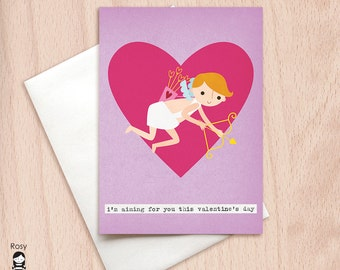 Valentine's Day - Aiming For You - Cupid - Happy Valentine Greeting Card, Valentine's Day Card, Valentine Greeting Card, Be Mine, Love Card