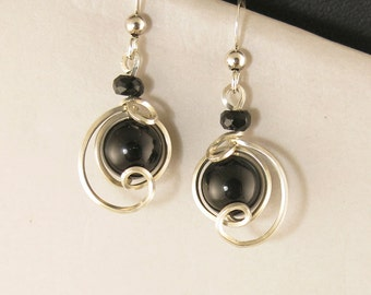 Black Onyx Small Dangle Drop Earrings, Unique Sterling Silver Wire Wrapped Black Stone Earrings, Small Black Silver Earrings