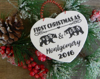 First Christmas As Mr. And Mrs. First Christmas Married Ornament Personalized First Christmas Ornament Rustic Ornament Bear Ornament