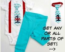 Aqua and Red Baby Boy 1st Birthday Outfit, Cake Smash Aqua Chevron Tie set with Pants, Circus First Birthday Shirt Boys