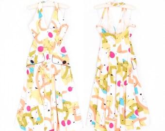 80s Halter Dress * Vintage Maxi Dress * Modernist Print Party Dress * Medium