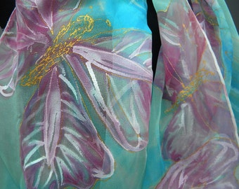 Pink Butterflies silk scarf. Hand painted tender lightweight transparent chiffon, designers scarf in light tuquoise blue, pink and white