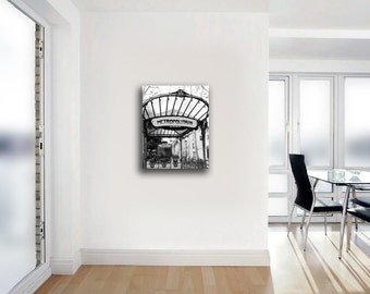 Paris Photography on Canvas, Metro, Black and White, Wall Art Canvas, Metropolitain Sign, Art Nouveau, Paris Decor