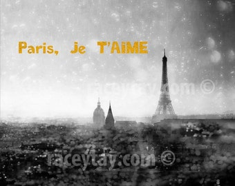 Paris Photography, Black White Paris, Paris Skyline Print, Print Gold Text, Paris Je T'aime, Eiffel Tower Photos, Black White Prints Gold