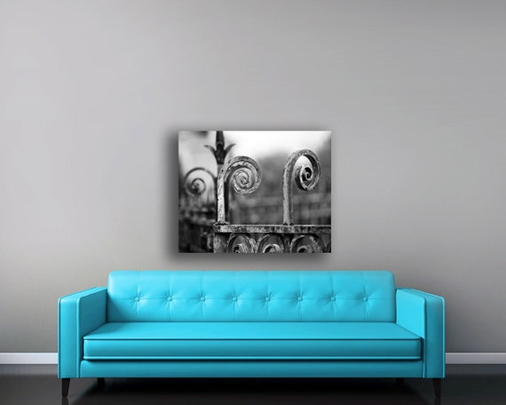 Rustic Canvas Art, Gray, Large Wall Art Canvas, Paris Canvas, Fence, Black and White Canvas Wall Art