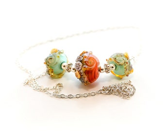 Coral Glass Bead Necklace. Coral Aqua Beach Beads. Lampwork Necklace.