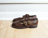 Shoes Girls Mary Jane / Dark Walnut Bown Leather / Buckle Flats / Kids Preppy / 90s Vintage / Size 3.5 / Euro 35