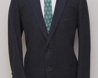 1960s men's black thick soft wool blazer/ 60s men's black blazer/ Saks Fifth Avenue