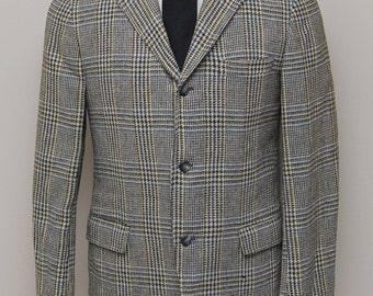 1960s men's black, green, blue, white plaid blazer/ 60s men's plaid blazer/ Stanley Blacker