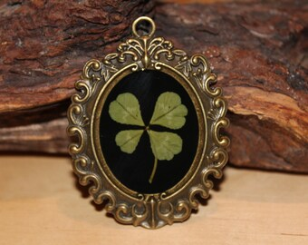 Real Four Leaf Clover Charm perfect for a necklace for St. Patrick's Day Irish Good Luck