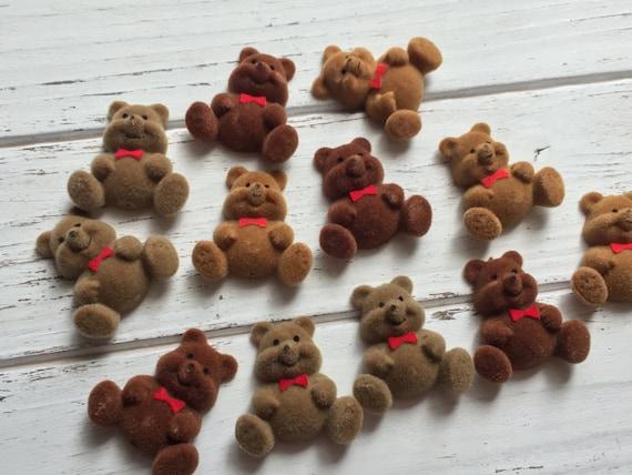 SALE Mini Flocked Teddy Bears, Packaged Set of 12, Flat Back Bears, Embellishments