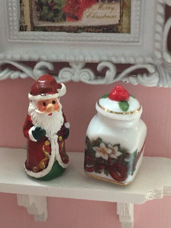 Miniature Santa Figurine and Porcelain Cookie Jar Set by Reutter, Dollhouse Miniatures, 1:12 Scale, Dollhouse Accessories, Holiday Decor