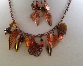 Copper Burst Necklace with Earrings