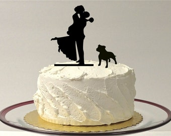 MADE In USA, Silhouette Wedding Cake Topper With Dog + Bride + Groom Dog Pet Family of 3 Wedding Cake Topper Bride and Groom Topper