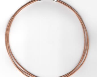 3 strands of 1.5 mm round leather cord Necklace  (Choker)