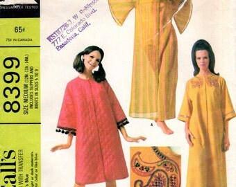 1960s Mod Robe with Bell Sleeves & Boots Slippers- Vintage Pattern McCall's 8399 - Size Medium
