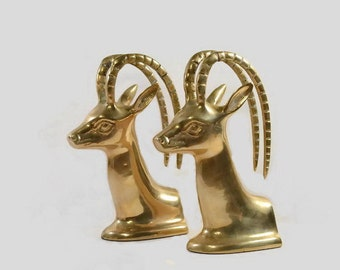 Vintage - Bookends - Solid Brass - Antelopes- Gazelle- Korea