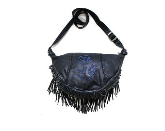 Vintage Hobo Bag / Black Leather Fringe Bag / Boho Purse