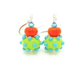 Southwestern Earrings, Lampwork Earrings, Bumpy Bead Earrings, Glass Bead Earrings, Bright Earrings, Glass Earrings, Colorful Earrings