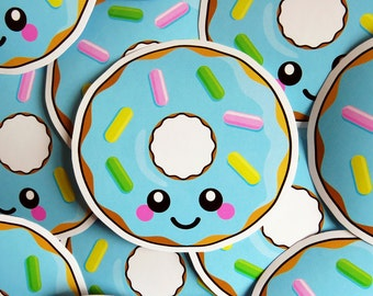 Blue Donut Vinyl Sticker 10cm, fun food sticker, cute stationery, donut laptop sticker, cute doughnut sticker, vinyl laptop sticker, planner