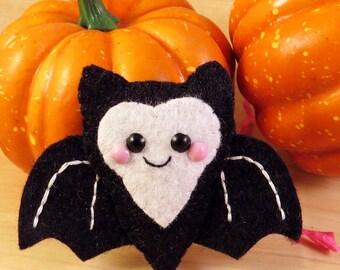 Black Bat Felt Brooch Hair Clip accessory happy halloween kitsch kawaii spooky cute