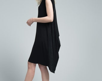 Summer Dress / Sleeveless Dress / Loose Dress / Black Dress / Knee Length Dress / Draping Dress / marcellamoda  - MD607