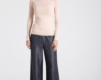 Palazzo Pants / Denim Pants / Wide Leg Pants / Chambray Pants / Long Pants / Loose Fitting Pants / marcellamoda - MP623