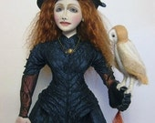 WITCH and OWL DOLL. Red Hair Witch. Witch Art Doll. Owl. Cloth Witch Doll. ooak Witch