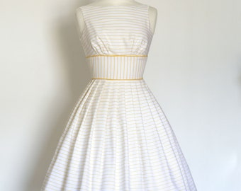 Yellow and White Striped Linen Prom Dress - Made by Dig For Victory
