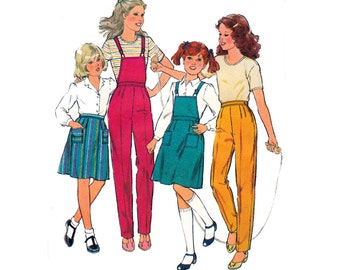 80s Retro Girls Dungarees Pinafore Pants and Skirt Pattern Style 3014 Vintage Sewing Pattern Size 8 Breast 27 inches
