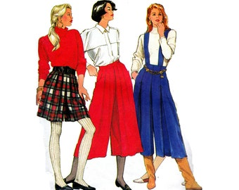 Vintage Womens Split Skirt Pleated Gauchos Sewing pattern Simplicity 9787 Sizes 6 - 14