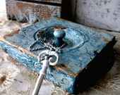 BLue Wall Hook. Rustic Antique Architect Mixed media Assemblage. Shabby CHippy  aged Patina. 3Vintagehearts