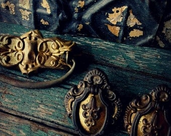 Antique Drawer Pulls. Salvage Hardware Restoration.  Assemblage Art. French Brocante. Fleur de lis