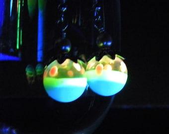 GLASS EARRINGS Fairy Lantern Glow in the Dark Handmade Glass (GLO6) Glow EARRINGS Glow Jewelry