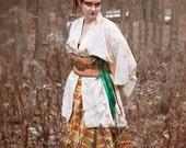 """Autumn SILK plaid hitcher skirt  24"""" to 40"""" waist  32"""" long steampunk"""